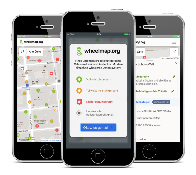 Photo of three smartphones on which different subpages of Wheelmap are open. The map, the traffic light system and a rated place.