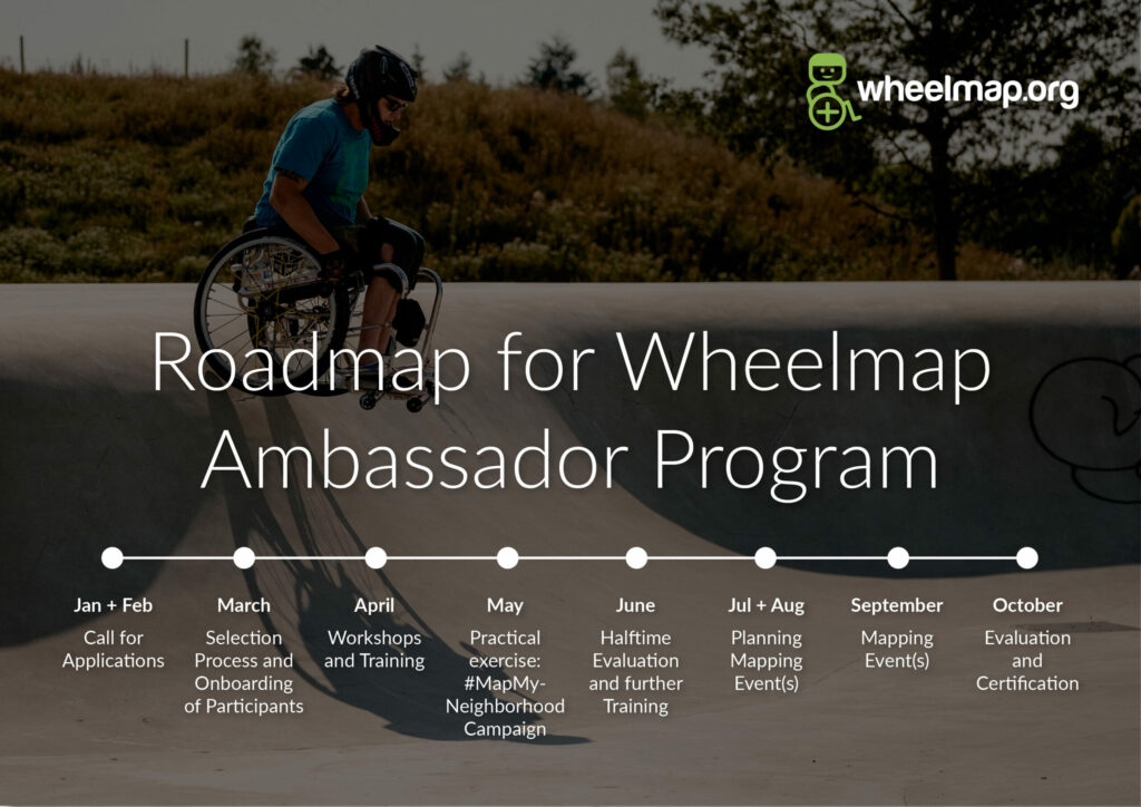 Roadmap for Wheelmap Ambassador Program: January + February: Call for Applications. March: Selection Process and Onboarding of Participants. April: Workshops + Training. May: Practical exercise: #MapMyNeighborhood Campaign. June: Halftime Evaluation + further Training. July+August: Planning Mapping Event(s). September: Mapping Event(s). October: Evaluation and Certification