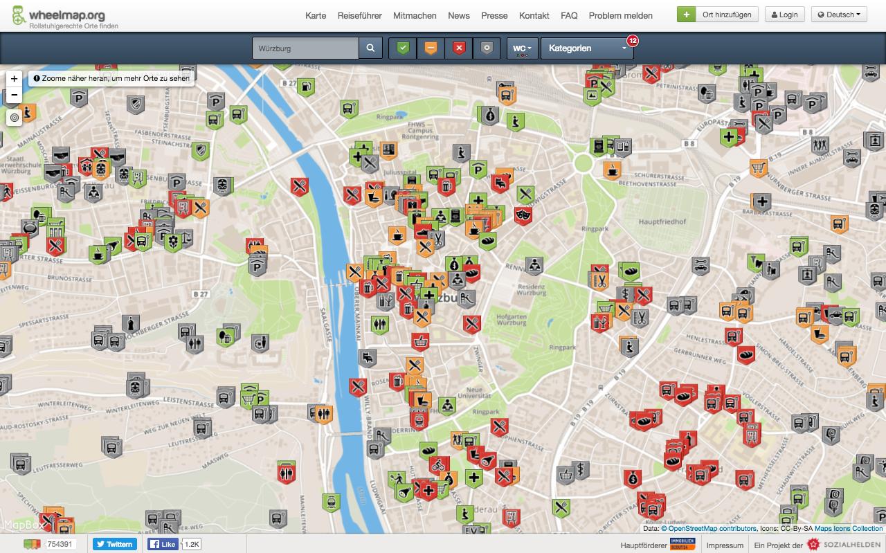 Der Ausschnitt der Innenstadt von Würzburg in der Kartenansicht von Wheelmap.org zeigt viele grüne, gelbe und rote Markersymbole.
