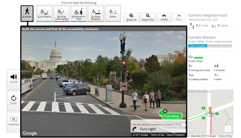 Ansicht eines Google Street View Bildes aus Washington mit den Bedienelementen der Anwendung Project Sidewalk zum Kennzeichnen von Barrieren auf öffentlichen Gehwegen