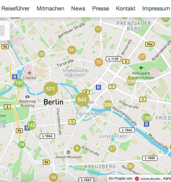 Beim Rauszoomen aus der Karte werden die Punkte in Cluster zusammengefasst. Deswegen sieht man nun mehr farbliche Zwischenstufen zwischen Gelb und Grün, Grün und Rot.
