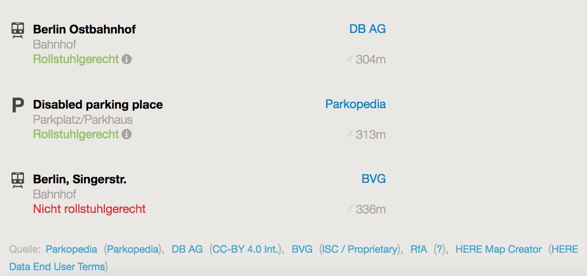 Die Anzeige der Parkopedia-Daten zwischen anderen Datenquellen in der Ortsdetailansicht auf Wheelmap.org