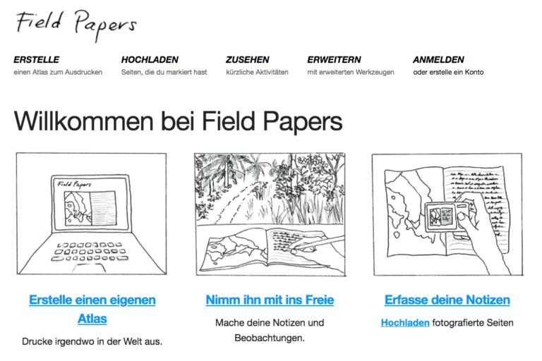 Bildschirmfoto von Fieldpapers.org, auf dem erklärt wird, wie man sich einen Kartenausschnitt ausdrucken kann.