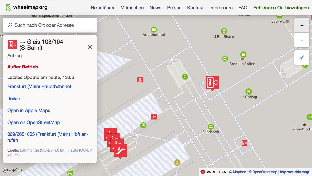 Screenshot der Wheelmap mit rot markierten nicht funktionierenden Aufzügen.