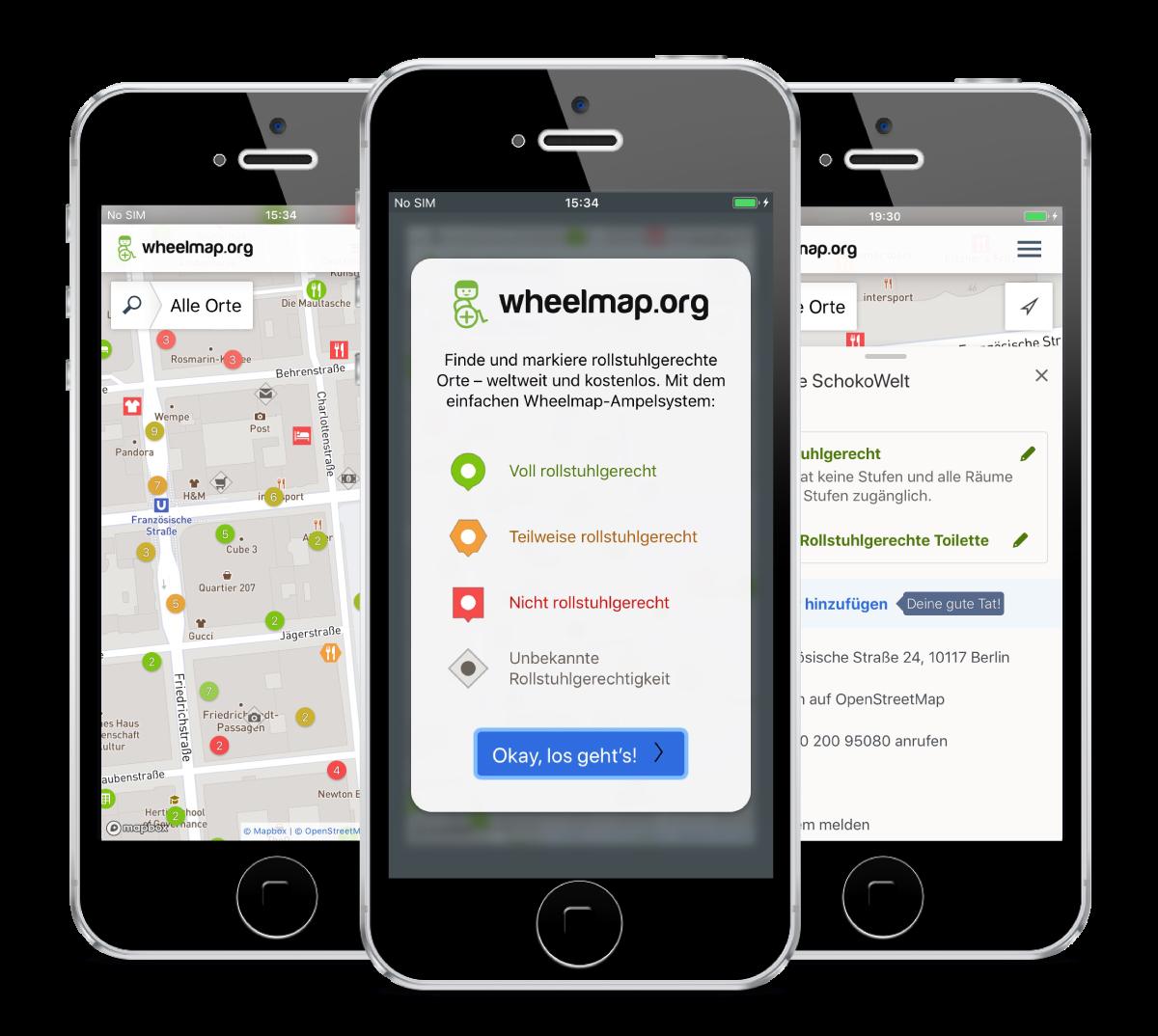 Smartphones, die auf dem Screen drei verschiedene Ansichten der neuen Wheelmap app zeigen