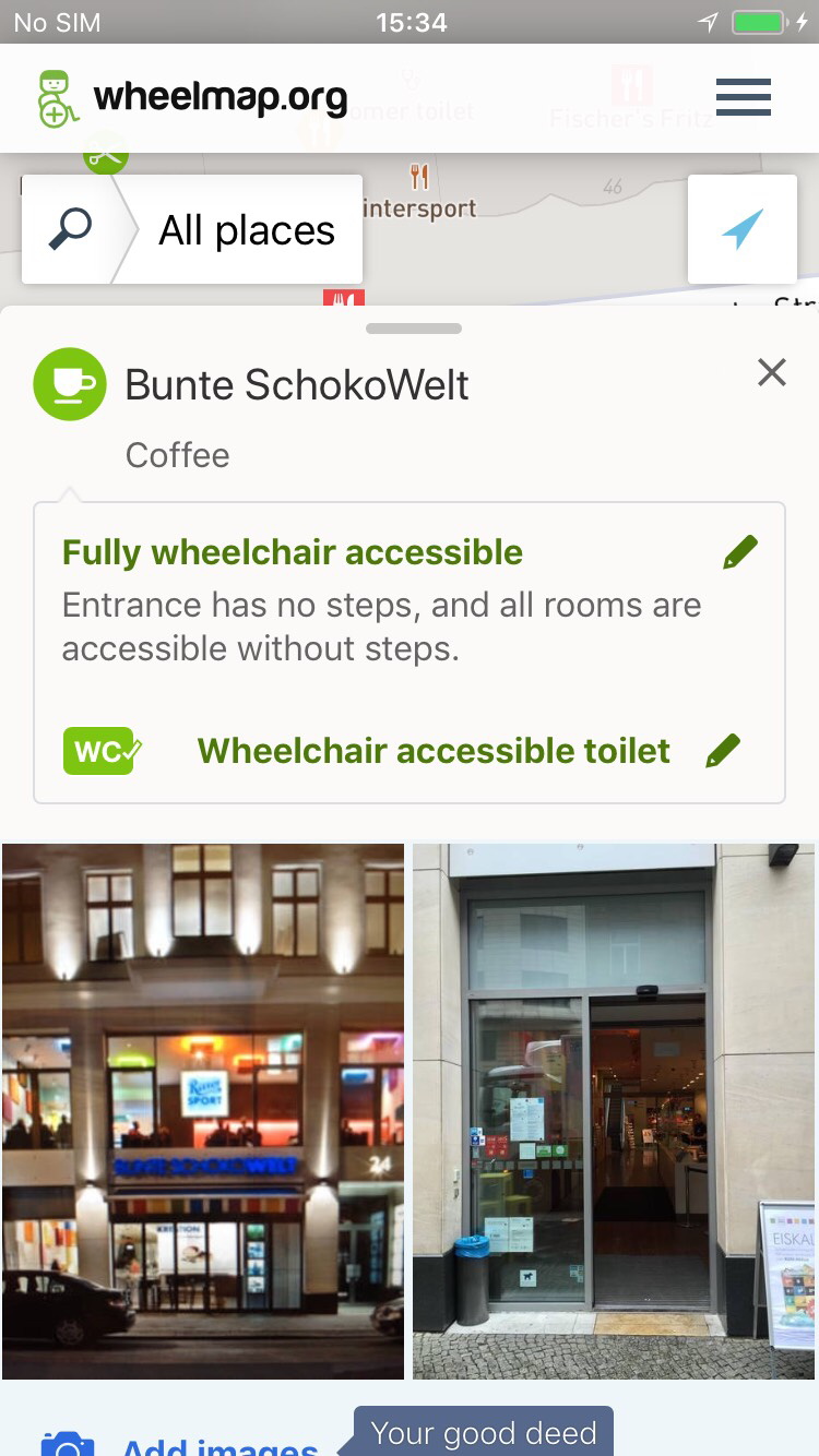 As before, you can still mark and edit the wheelchair accessibility of the entrance and the WC. The photo upload now also works without login, but with captcha.