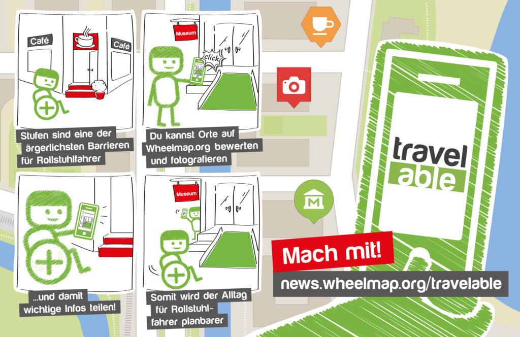 Im Comic-Stil sind einige Tipps zu sehen: Stufen sind eine der ärgerlichsten Barrieren für Rollstuhlfahrer. Du kannst Orte auf Wheelmap.org bewerten und fotografieren und damit wichtige Infos teilen. Somit wird der Alltag für Rollstuhlfahrer planbarer.
