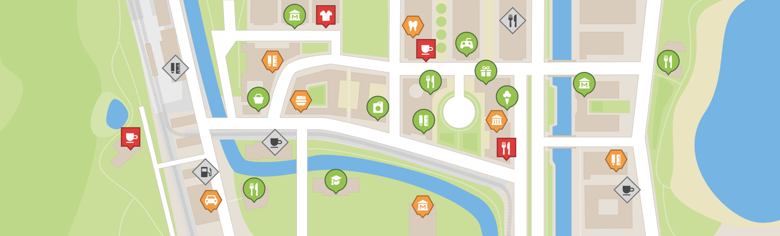 Ein beispielhafter Kartenausschnitt der Wheelmap. Zu sehen sind Straßen, Parks, Gewässer sowie rot, gelb oder grün bewertete Orte