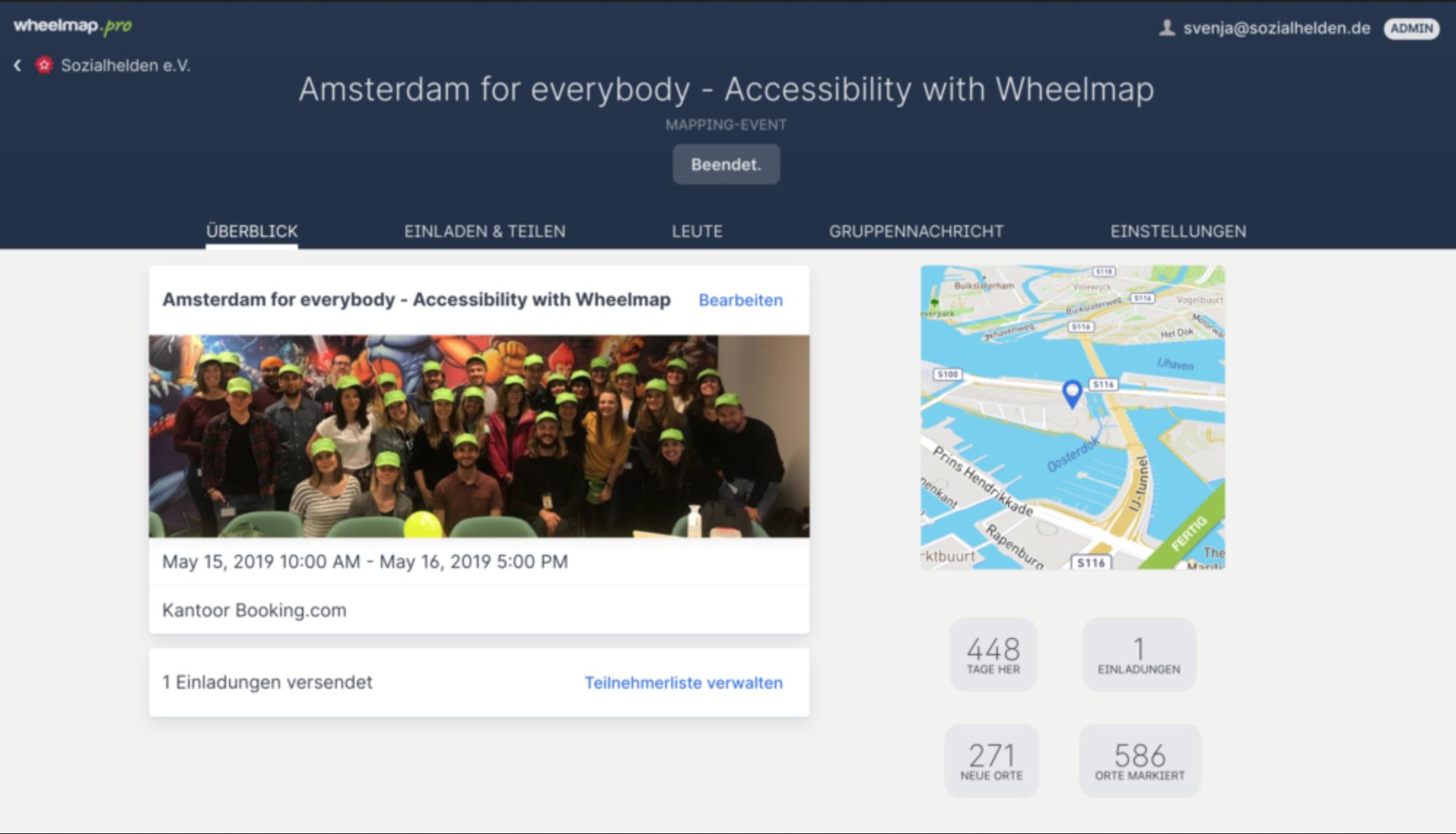 Screenshot des Mapping-Event Planners zur Mapping-Aktion von Booking.com in Amsterdam im Mai 2019