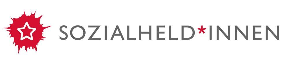 Logo der Sozialheld*innen: Ein roter Klecks mit einem Stern in der Mitte. Rechts daneben steht: Sozialheld*innen