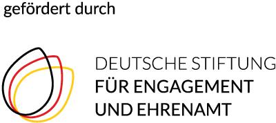 Logo der Deutschen Stiftung für Engagement und Ehrenamt: Drei Runde Formen in den Farben Schwarz, Rot, Gold